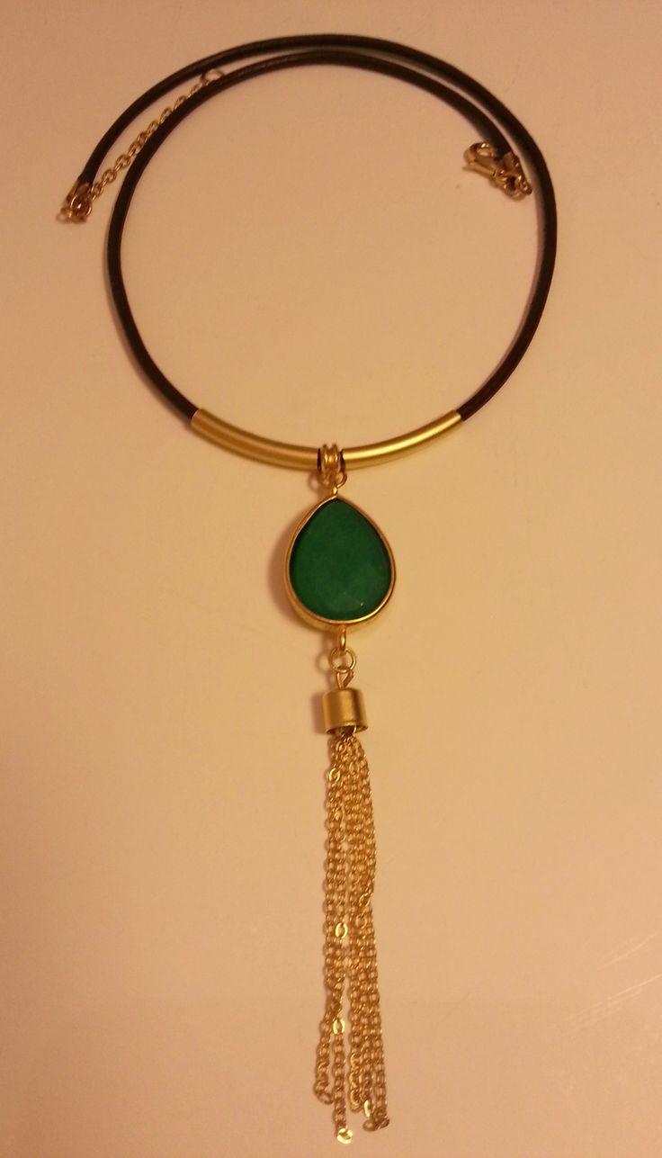 Jade,leather necklace