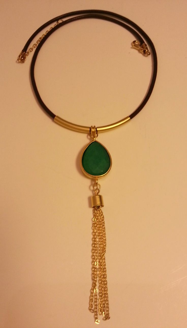 Jade,leather necklace