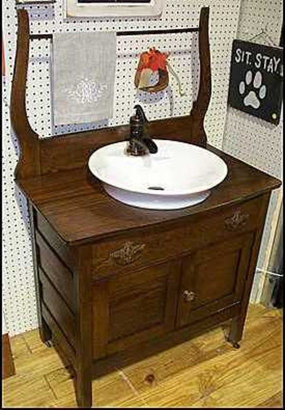 Cw1826 Antique Washstand With American Standard Morning Vessel
