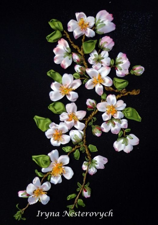 Apple blossom #ribbonEmbroidery