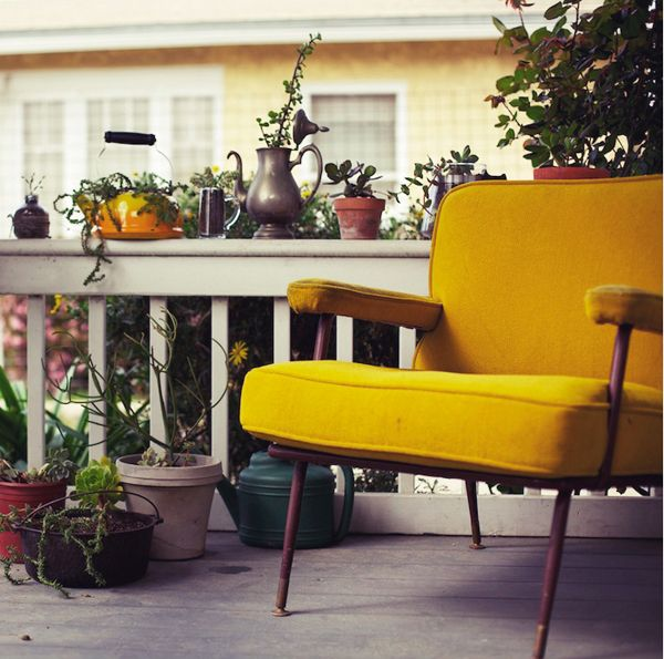 : Interior, Living Room, House, Porches, Yellow Chairs, Garden