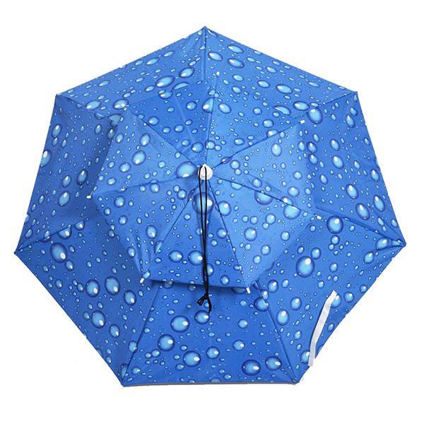 Outdoor Anti UV Windproof Double Umbrella Fishing Hat Portable Shade Camping Fishing Tool