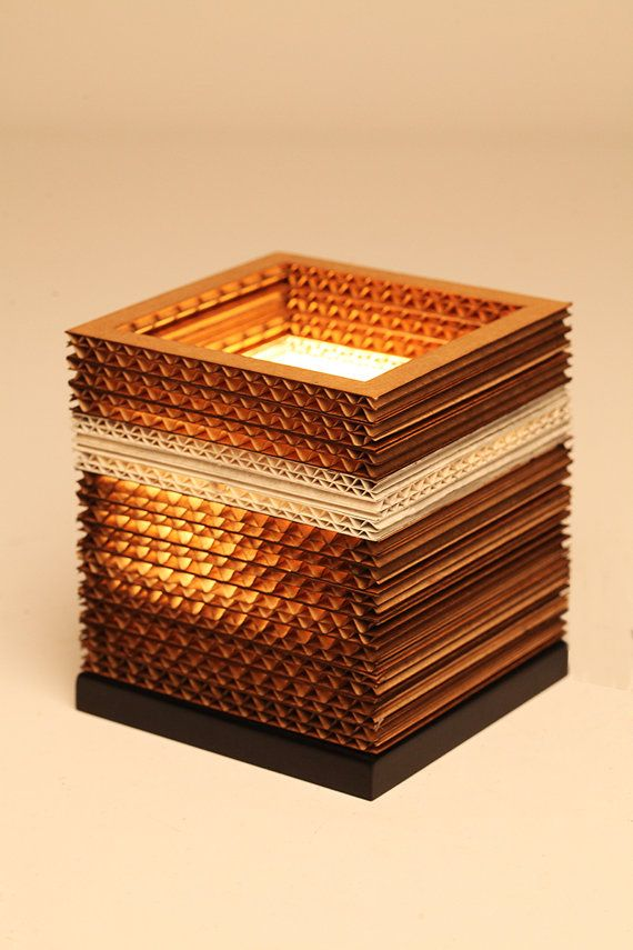Handmade| eco-friendly | unique | sustainable | corrugated cardboard |Cubo Brown Table Lamp | Light |Sylvn Studio