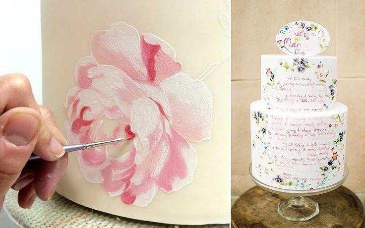 Cara Unik Menghias Kue Pengantin Dengan Lukisan Tangan
