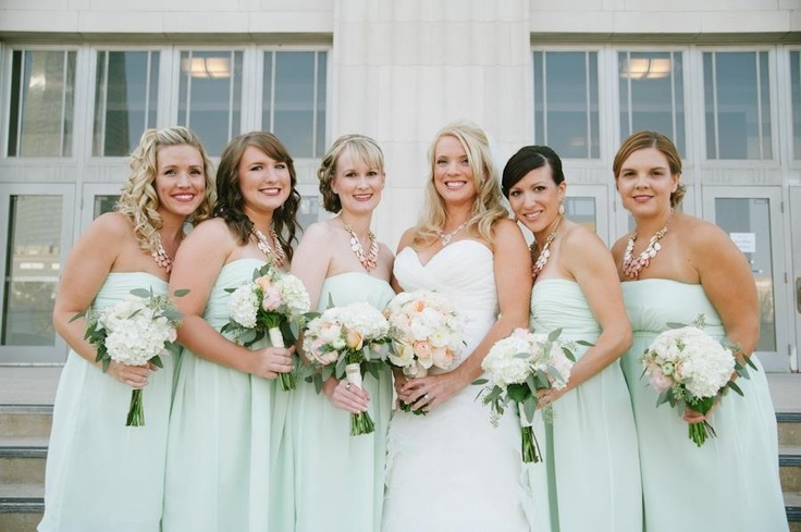Mint green dresses with soft peach floral. #wedding ...