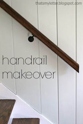 "That's My Letter: ""H"" is for Handrail Makeover, staircase makeover from red to white and stain"