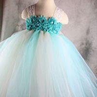 Мятно-зеленый бежевый принцесса цветочницы пачка с кружевными девушки вечернее платье для ну вечеринку на день рождения свадебные PT40