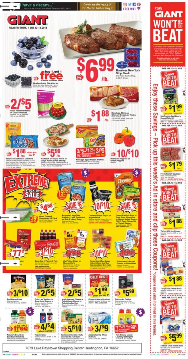 Giant Food Stores Weekly Ad Jan 12-18, 2018 http://www.weeklyadspecials.com/giant-food-stores-weekly-ad/