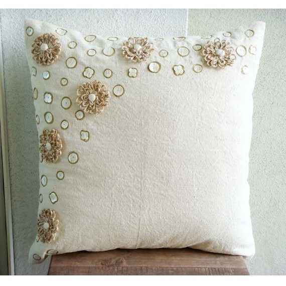 Jute Flowers  Throw Pillow Covers  20x20 Inches by TheHomeCentric