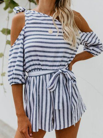 ae173368108 Blue One Shoulder Half Sleeve Striped Romper  ad  romper  striped ...