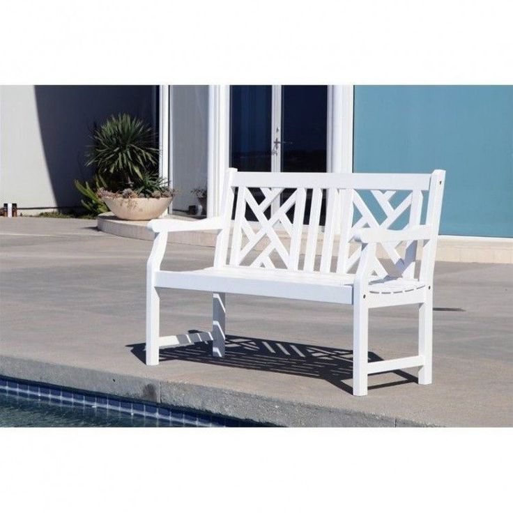 Outdoors Garden Bench 4 Foot White Hard Wooden Patio Furniture Porch Resistant #White