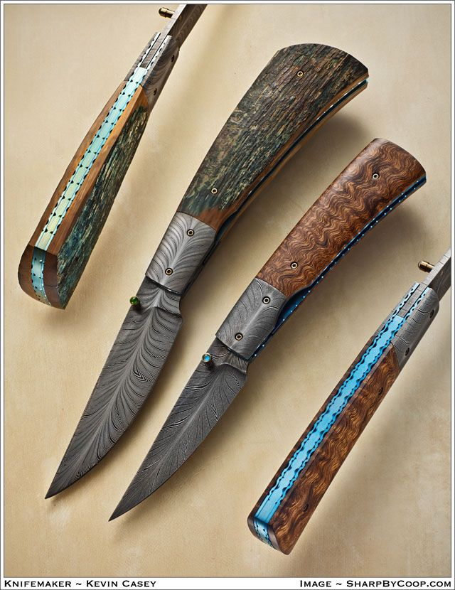 Kevin Casey damascus folding knives. Image by SharpByCoop.com