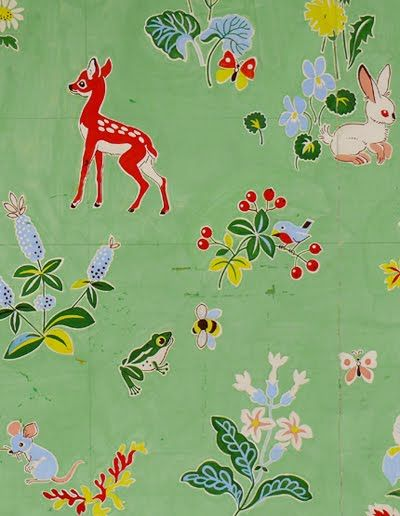 authentic french gouache design originally made for a fabric and wallpaper company in france called 'essef decors muraux'