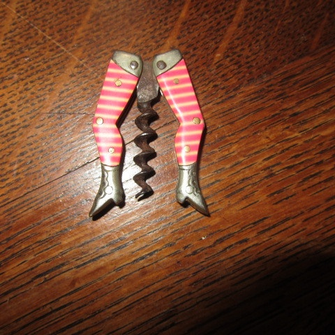 Celluloid Pink & Cream Striped Lady Legs Corkscrew