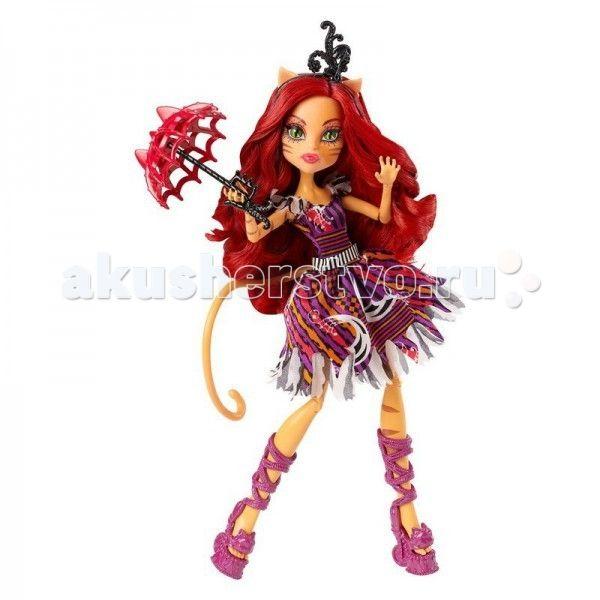 """Monster High Кукла из серии Шапито Toralie  Кукла Monster High из серии Шапито Toralie не оставит равнодушной ни одну поклонницу """"Школы монстров"""".   Особенности: Губы нежно розового цвета, такой же цвет имеется и на веках.  Длинные волосы подчёркивают её женственность и характер. Они имеют тёмно — рыжий цвет, если приглядеться мы сможем видеть одну еле заметную прядь фиолетового цвета. Сами волосы немного накручены. А также цвет её волос хорошо сочетается с её шикарным нарядом. На волосах…"""