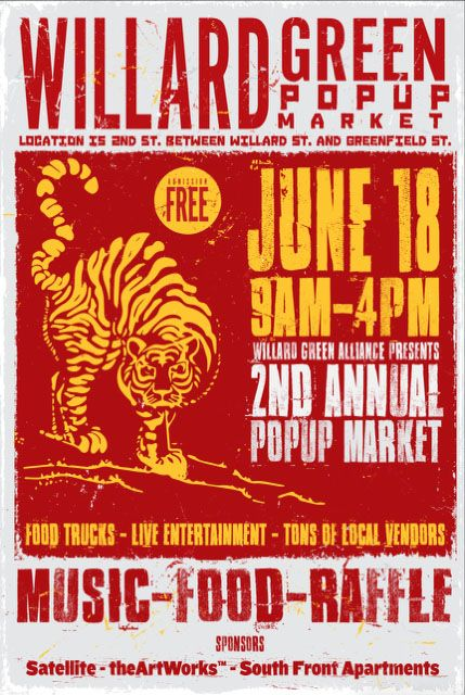 Artists and Artisans!! Local Vendors!!2nd Annual Pop-Up Market Benefiting  Local Charities Local business Saturday, June 18, 2016Time: 9:00am to  3:00pmWhere: 2nd Street, between Greenfield St. And Willard St.near  #GreenfieldLake #Satellite #theArtWorks™ #SouthFrontAptContact Jim  Know