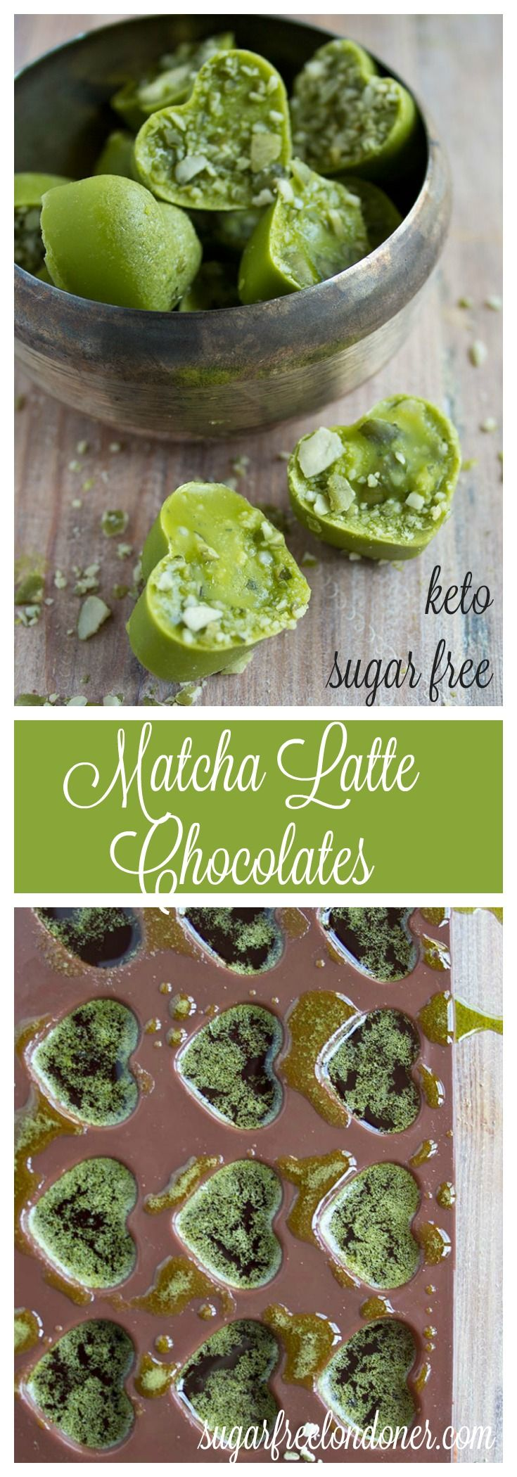 A delicious and easy keto treat that is bursting with antioxidants: Sugar free matcha latte chocolates.
