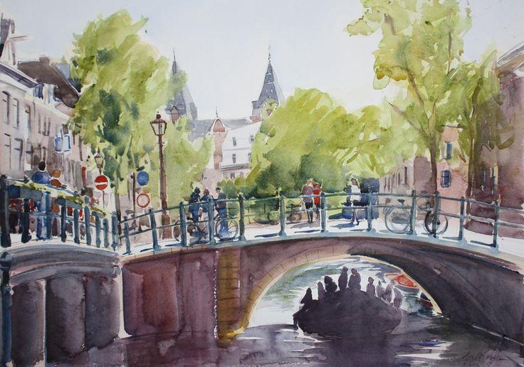 Spiegelkwartier Amsterdam aquarel  waar je zo lekker kunt spelen.......