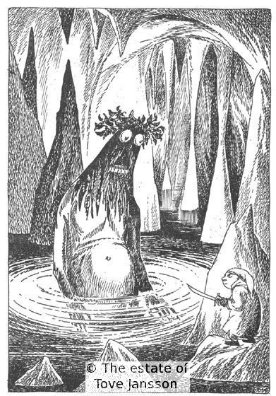 Tove Jansson's illustrations to J. R. R. Tolkien: Bilbo – en hobbits äventyr, Rabén & Sjögren, 1962, p. 85 - Bilbo and Gollum (clearly, no one told Tove that Gollum was of possibly hobbit stock himself)