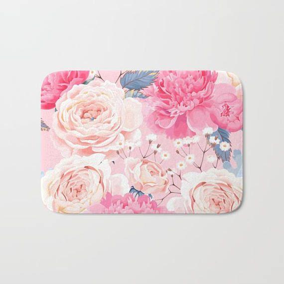 Pink Floral Bath Mat Floral Shower Mat Flower Bath Mat