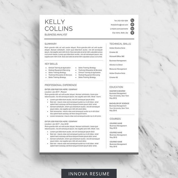 Hybrid Resume Template With Cover Letter And Reference Page Etsy In 2021 Minimalist Resume Template Resume Template Word Minimalist Resume