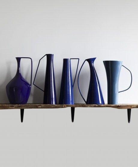 Stunning modern shapes in an on-trend inky hue. Hidria vessels by Diamantini & Domeniconi, available at Aria