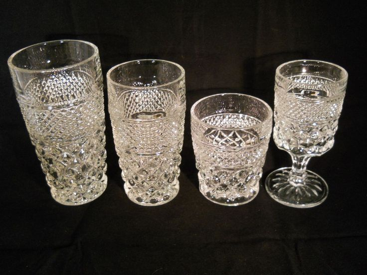 Vintage Anchor Hocking Glassware Wexford Pattern Crystal Set Of  28 (AHCWEX)1-2