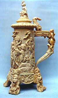 "Hand-carved ivory stein Ca. 1900.  www.LiquorList.com  ""The Marketplace for Adults with Taste"" @LiquorListcom   #LiquorList"