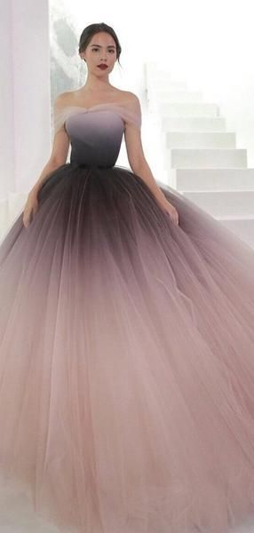 Incredibly Off Shoulder Ombre Purple Pink Tulle Ball Gown Prom Dresses,PD00316