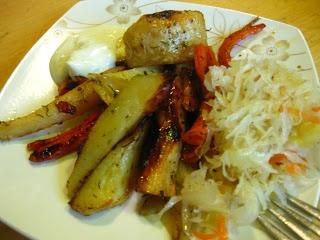 Pieczone zimowe warzywa ~ Kurczak w cieście na ostro