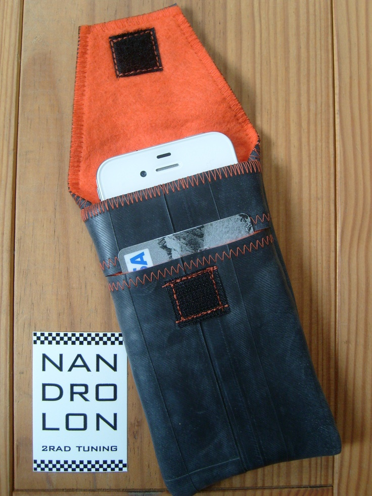iPhone Case made ​​from recycled bike tube, with credit card slot, orange