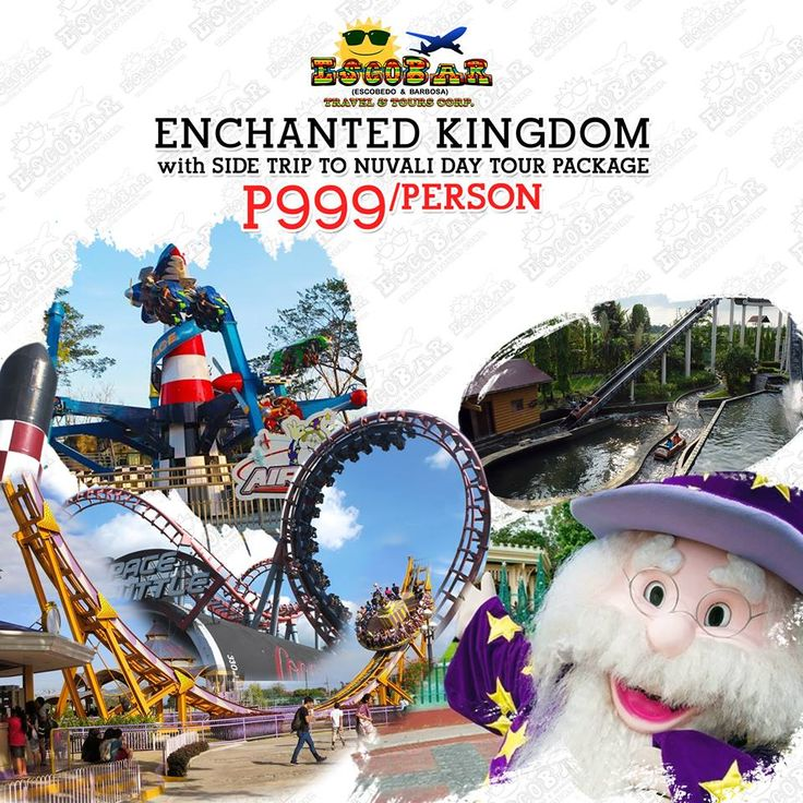 THE MAGIC LIVES FOREVER 🎪🎭💕  ENCHANTED KINGDOM with SIDE TRIP TO NUVALI DAY TOUR PACKAGE 🎆🎢🎠  P999/person - min of 12 pax  #TravelWithEscobar #EscobarTravel #travelph #EnchantedKingdom