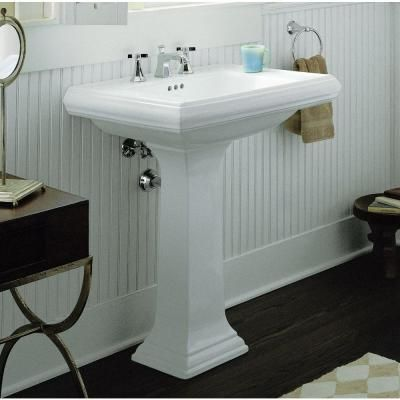 Kohler memoirs pedestal bathroom sink combo with 8 in centers and