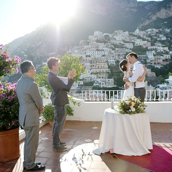 Yesterday, on a magical outdoor terrace of a beautiful #Positano, two wonderful hearts joined in a more strong union than ever before! We whole-heartedly congratulate Tanya and Sergey and wish to spark together all the time! Viva gli sposi! :) Wedding planner: @yourdreamweddingitaly  Photo: @weddingphotographeramalficoast http://www.dream-wedding-italy.ru  Active link in profile.  #свадьбазаграницей #свадьбавиталии #свадьбавпозитано #итальянскаясвадьба  #организациясвадьбы…