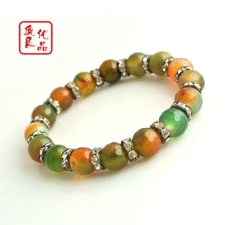 Высокое качество граненные зеленый агат мужская браслеты мода 7.5 '' мужская оникс ювелирные изделия - драгоценный камень