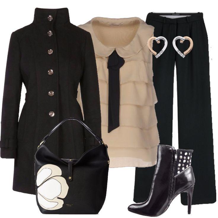 Un outfit carino per una serata, ma adatto anche all'ufficio, aggiungendo un cardigan. Cappotto nero, monopetto, con bottoni in metallo, abbinato a pantaloni neri di linea ampia, larghi al fondo. Top beige in crêpe, collo claudine, senza maniche, fiocco. Stivaletto nero, punta, tacco a spillo, borchie, cerniera; borsa a tracolla nera, in fantasia. Orecchini a cuore completano il look.