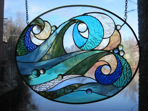 Ocean Wave Stained Glass Panel by RenaissanceGlass on Etsy