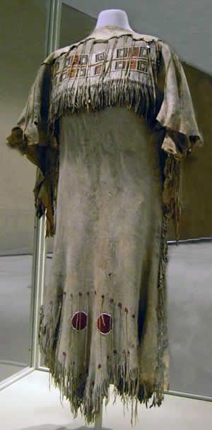 Cunnewabum's wedding dress, 1846. Paul Kane painted the Métis girl at Ft. Edmonton, and asked if he could have her dress. It is now in the Royal Ontario Museum's collection.