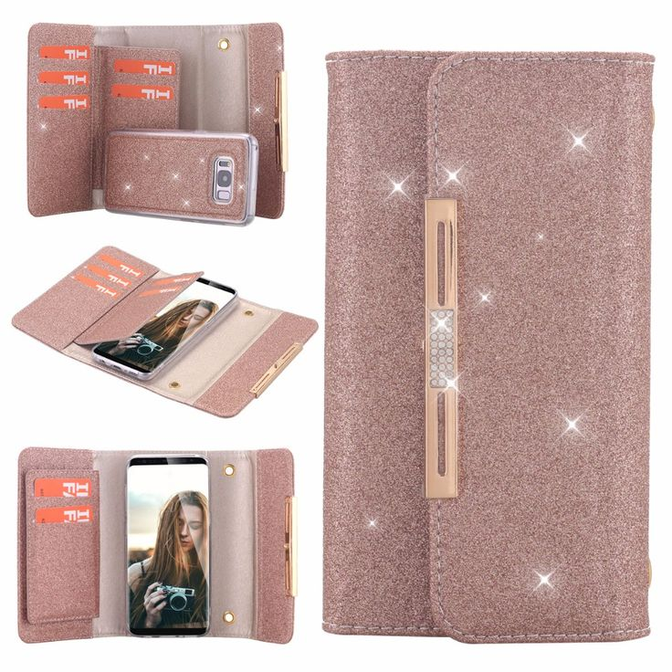 Bling Glitter PU Leather 7 Card Slots Wallet Case Handbag with Detachable Magnetic Back Case & Metal Chain for  Galaxy S8 S8plus
