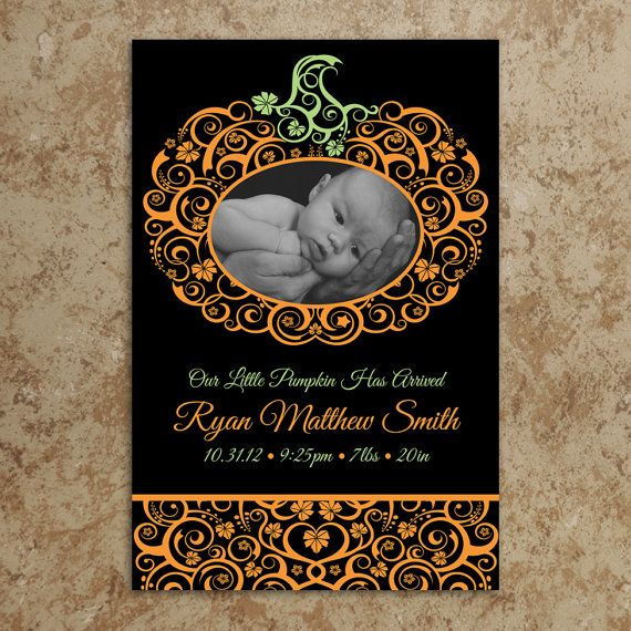 Pumpkin Birth Announcement  Fall Birth by DesignsWithStyle on Etsy, $20.00