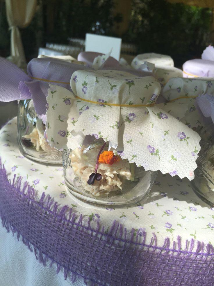 Matrimonio in campagna Lilla Aperitivo vasetti & burnie di vetro