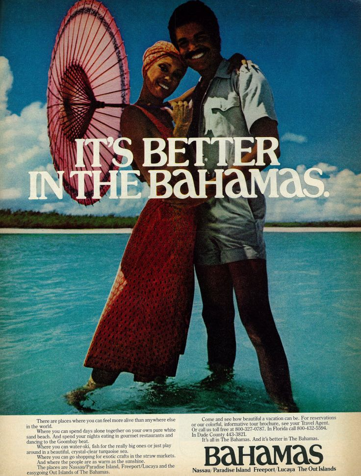"1977 Travel Ad, Bahamas Vacation, Young Couple on Beach - http://bookcheaptravels.com/1977-travel-ad-bahamas-vacation-young-couple-on-beach/ - 1977 Travel Ad, Bahamas Vacation, Young Couple on Beach  Image by classic_film Vintage 1970s magazine advertisement, travel to Bahamas, young couple on beach, 1977  Tagline: ""It's Better in the Bahamas""  Published in Ebony, June 1977 - Vol 32, No. 8  Fair use/no known copyright. If - 1977, Bahamas, beach, Couple, Travel, V"