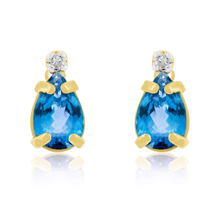 1 Carat Pear Topaz and Diamond Earrings in 14k Yellow Gold