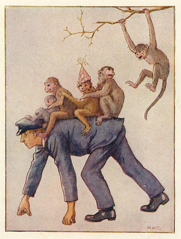 Monkey Rides - Zoo Days by Harry Golding, 1919 illus. by Margaret W. Tarrant