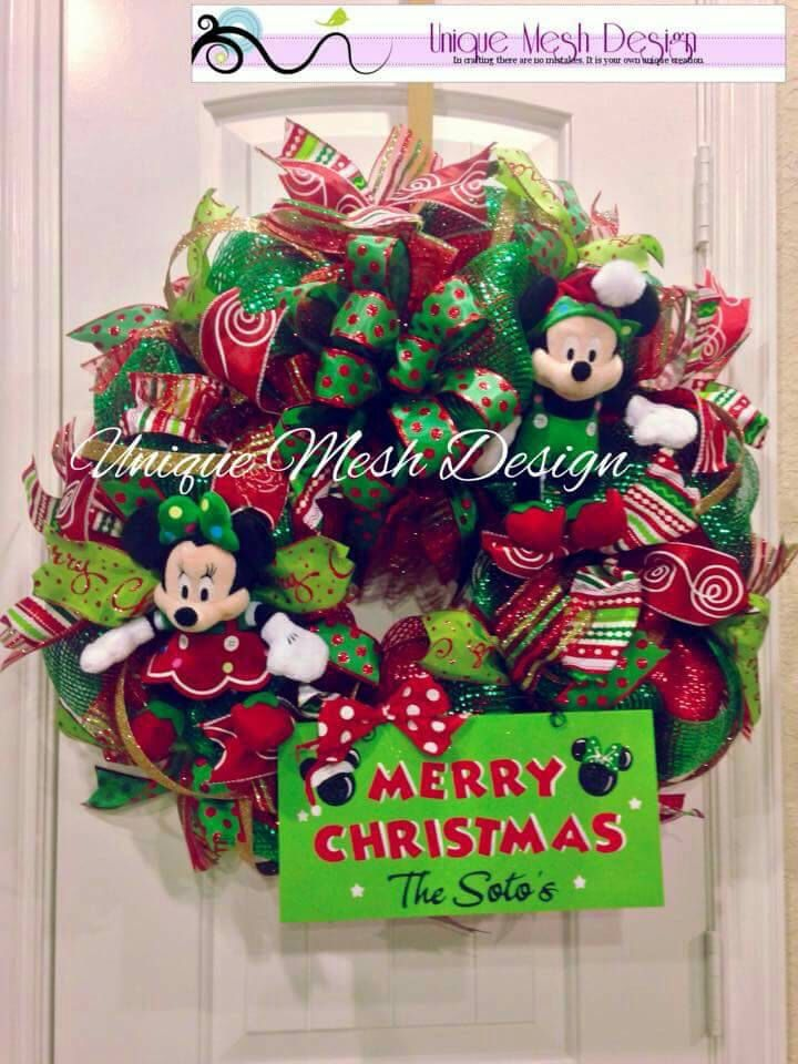 Mickey Mouse Christmas Wreath, Mickey n Minnie Wreath, Mickey Mouse Wreath by OliviasKreations on Etsy https://www.etsy.com/listing/245344320/mickey-mouse-christmas-wreath-mickey-n