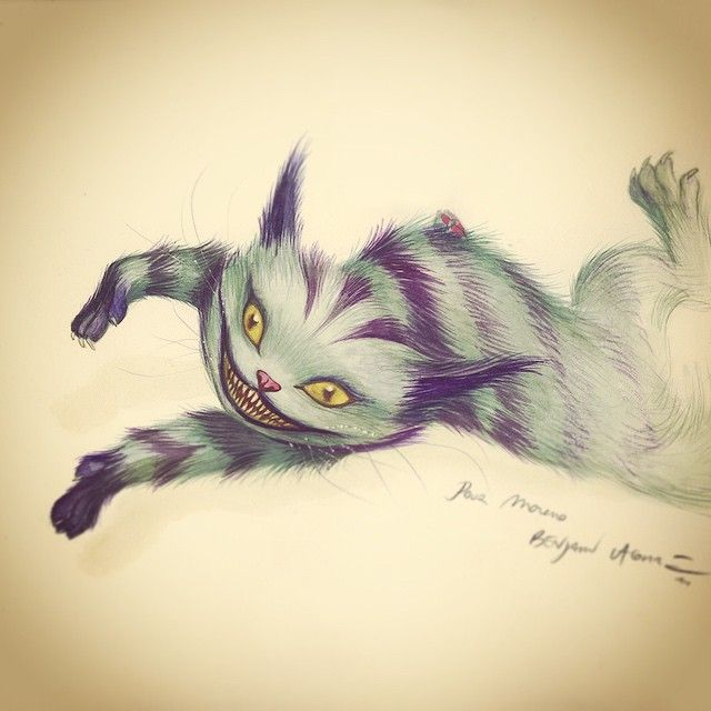 A little Cheshire Cat  Emoticono wink  ‪benjamin lacombe‬  ‪‎cheshirecat‬ ‪- ‎alice in wonderland‬