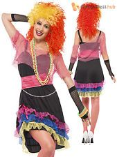 Size 8-18 Ladies 80s Retro Madonna Fancy Dress Costume Neon Rave Disco Womens