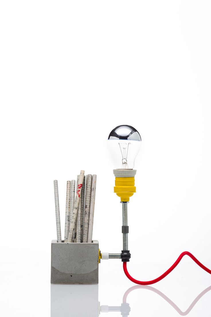 We love this industrial style concrete desk tidy and lamp