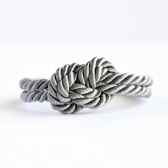 Shiny fog gray infinity knot nautical rope bracelet with silver anchor charm // $13 // www.etsy.com/listing/176324692