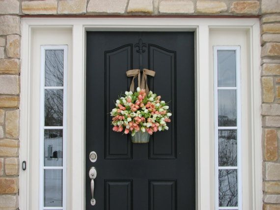 Tulips Farmhouse Door Wreaths Tulips Mother's Day by twoinspireyou